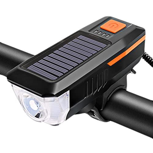 N\\A Luces solares para bicicleta, luces delanteras con cuerno, USB, recargables, impermeables, luz frontal de color naranja