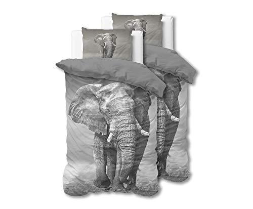 SLEEP TIME Bettwäsche 4teilig Elefant, 135cm x 200cm, Mit 1 Kissenbezüge 80cm x 80cm, Grau