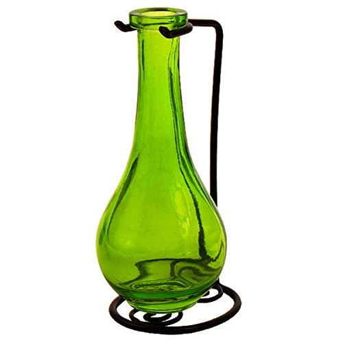Small Glass Vases, Colored Bottles, Decorative Bud Vase G187VF Lime Green Unique Flower Holder