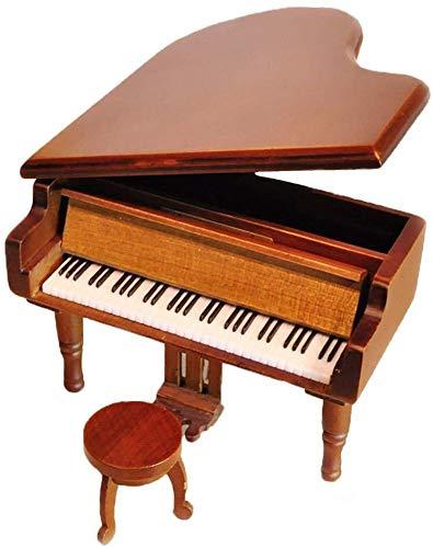 Poppy 18 Notas Retro Wind-Up Piano de Madera Musical Box, Regalo de Madera Caja de música Simulación, Juego de Tronos Tema Musical Box, con Plateadura Movimiento en, Negro (Color : Woodsilvery)