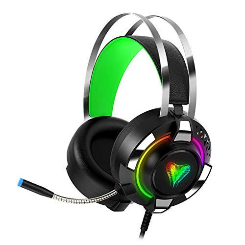 SUN JUNWEI Auriculares para Juegos, Auriculares con Sonido Envolvente 7.1 con micrófono, Control de Volumen con cancelación de Ruido LED y luz RGB para PC, PS4, Xbox One, Nintendo Switch,Verde