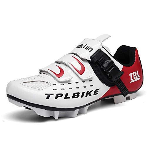 Zapatos de ciclismo para hombre, zapatos de ciclismo de carretera, zapatos de ciclismo antideslizantes, suela de nailon transpirable, White Red1, 42 2/3 EU