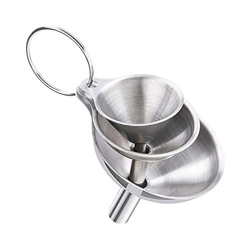 MY99 USHOMI Juego de embudos de Acero Inoxidable de 5 uds, colador de Cocina de Metal para transferir aceites, Filtro de Ingredientes Secos líquidos con cepillos