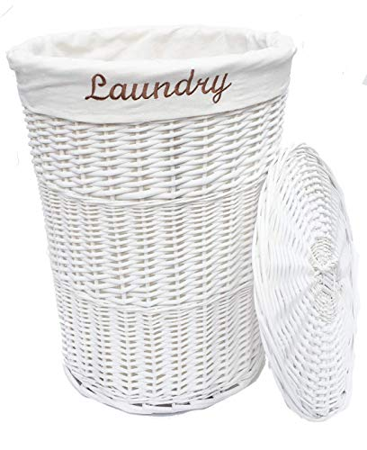 topfurnishing White Wicker Round laundry Basket With Removable Lining + Lid (Large 59 x 44 cm)…
