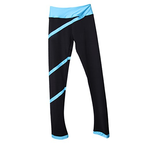 perfeclan Pantalons De Patinage Respirant Collants Pantalons Skinny Skinny à Rayures en Spirale - Bleu Clair, L