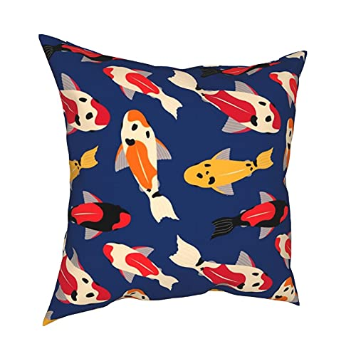 Kissenbezug Kissenbezüge 45x45cm Koi Karpfen schweben in der dunkelblauen Wasserdekoration für Home Decor Office Sofa Holiday Bar Kaffee Hochzeit Auto