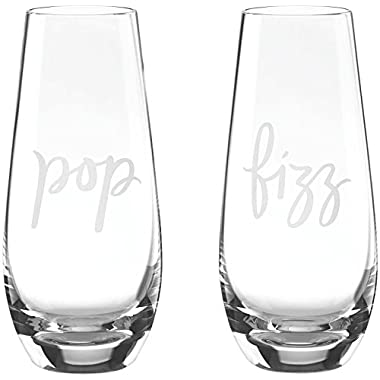 Kate Spade New York POP/FIZZ Stemless Champagne, Clear