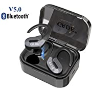 Wireless Earbuds, TWS True Wireless Earbuds Bluetooth 5.0 Earbuds IPX5 Sweatproof Bluetooth Headset with 1000mAh Charging Case, 30Hrs Play Time In-Ear Wireless Headphones Earphones with HD Mic for Sports Gym (Black)
