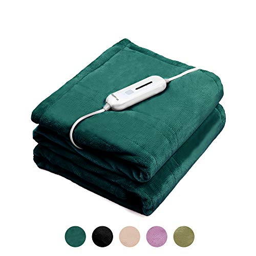 WAPANEUS Electric Heated Blanket with 3 Heating Levels and Auto Shut Off,Soft Plush Heated Throw...