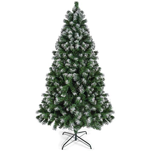 Prextex 6 Feet Premium Artificial Spruce Hinged Christmas Tree with 1200 Snow White Tips Lightweight and Easy to Assemble with Christmas Tree Metal Stand