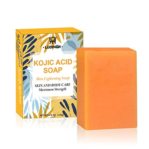 Kojic Acid Soap Skin Soap (Maximum Strength) for Dark Spots, Sun Damage, Uneven Skin Tone, Hyperpigmentation, Helps Even Skin Tone (4.76 oz / 135g) - Not Suitable for Sensitive Skin