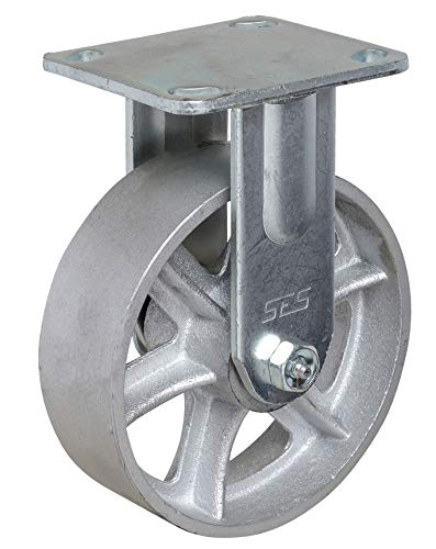 """6x2"""" Heavy Duty Cast Iron Rigid Caster with 4x4-1/2"""" Mounting Plate"""