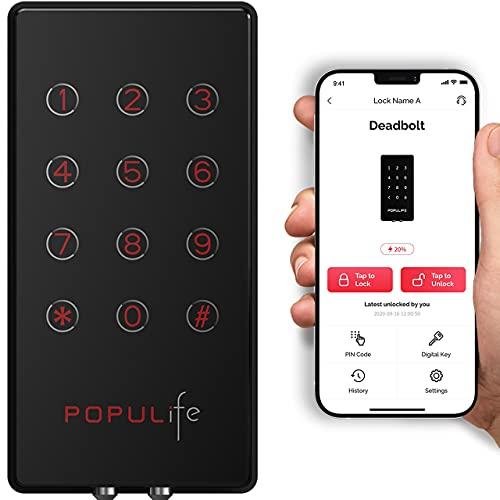 Populife Bluetooth Door Lock,Deadbolt Lock Keyless Entry Door Lock with Keypad,Electronic Digital Door Locks with Deadbolt for Homes.Black Smart Door Lock Front Door,Works with APP,PIN Code