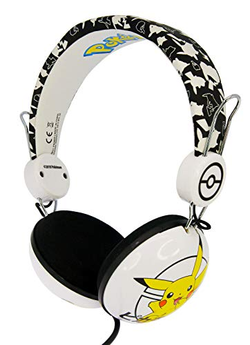 OTL Technologies TWEEN Kinder Kopfhörer Pokemon Pikachu (faltbar, Gepolsterte Bügel, Buntes Comic Design, für Jungen und Mädchen) Weiß/Schwarz