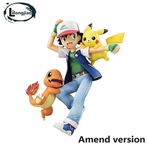 Lilongjiao Pokémon Ash Ketchum Y Charmander y Pikachu PVC Figura -Alta 4,3 Pulgadas