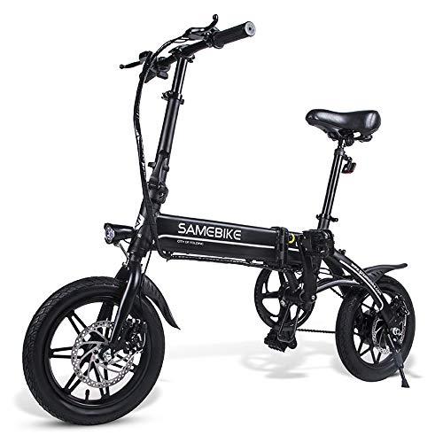 Samebike 14 Pollici Pieghevole Bici Elettrica Servoassistita Bicicletta Elettrica E-bike Scooter 250w Motore Nero