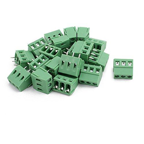 sourcing map 20 Stück KF128 AC300V 10A 3P Schraube Typ PCB Schraubklemme Grün 5,08mm Tonhöhe de