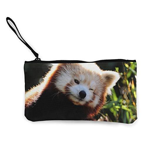 Wrution Fox Fiery Little Panda - Monedero de Lona con Cremallera, tamaño pequeño, portátil, Gran Capacidad, Personalizable