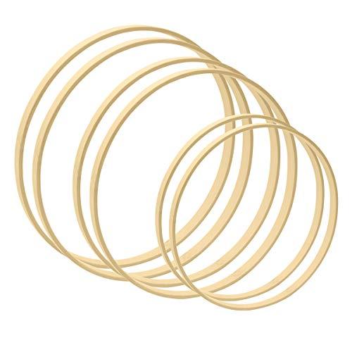 Worown 6 pezzi 3 dimensioni (20,25 e 30cm) Cerchi in legno di bambù Anello macramè per fare ghirlande nuziali Artigianato decorativo e da appendere alla parete