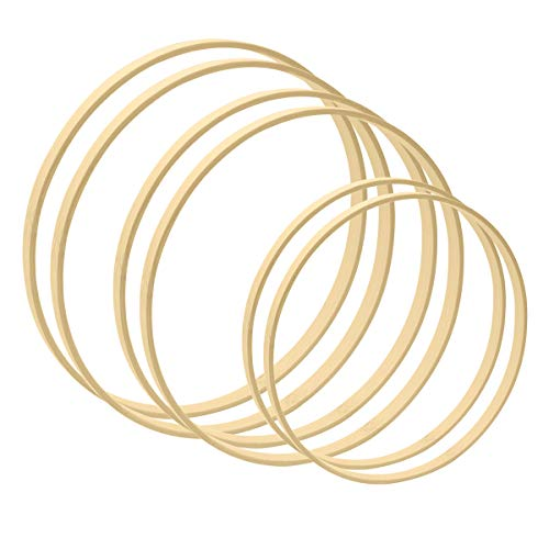 Worown 6pcs 3 Sizes (8, 10 & 12 Inch) Wooden Bamboo Floral Hoops Wreath Rings for Making Wedding Wreath Decor and Wall Hanging Craft