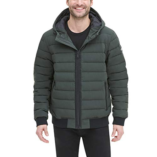 DKNY Men's Quilted Performance Hooded Bomber Jacket, Dark Olive Matte Stretch, X-Large