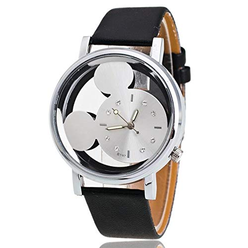 SFBBBO Reloj niño Reloj de Cuarzo de Acero, Relojes de Dibujos Animados para niños, Diamantes de Cristal para Mujeres, Estudiantes,Mujeres, Reloj de Anime, Dorado, Negro, blanco2