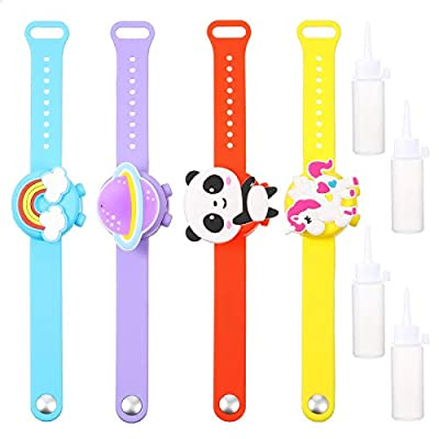 4 Pieces Kids Wristband Hand Silicone Dispenser...