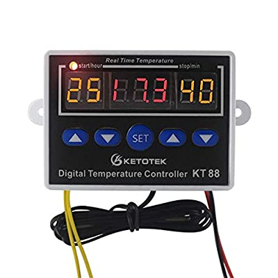 KETOTEK Digital Temperature Controller Thermostat 12V Temperature Control Switch Three Display Output 10A/110VAC ...