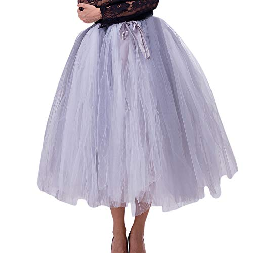 WOZOW Damen Tüllrock Gradient Lange Einfarbig Rock Elegant Ballet Tanzkleid Brautrock Brautjungfer...