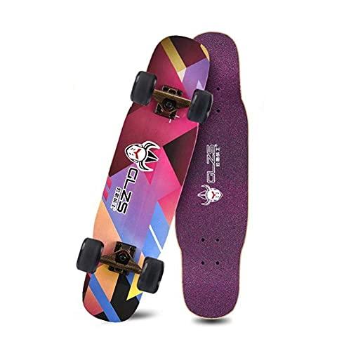 Totalmente patineta para principiantes Adultos Tablero de surf Boys y niñas Niños y adolescentes para cepillar el camino Longboard de cuatro ruedas Adecuado para deportes al aire libre 31 '' fengong