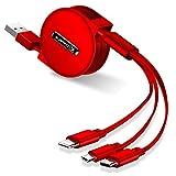 ライトニングケーブル 巻き取り 充電ケーブル 3in1 lightning ケーブル & USB-C TYPE C 3.5A 急速充電 高速データ転送 収納袋付き 120cm 一年間品質保証 (レッド)