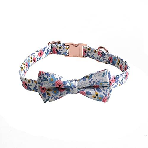Wulivon Collar para perro, pajarita, arco ajustable, adecuado para perros pequeños y medianos y gatos, color azul, L