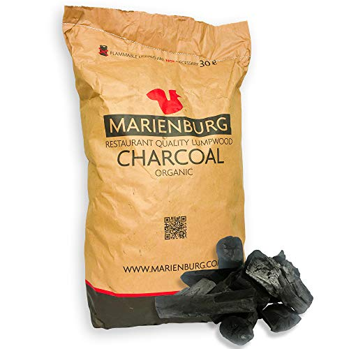 Marienburg Organic Restaurant Grade Lumpwood BBQ Charcoal for Barbecues and Pizza Ovens, 30L