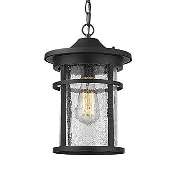 Emliviar Outdoor Hanging Lantern Light Fixture 1-Light Exterior Pendant Porch Light in Black Finish with Crackle Glass A208511D1