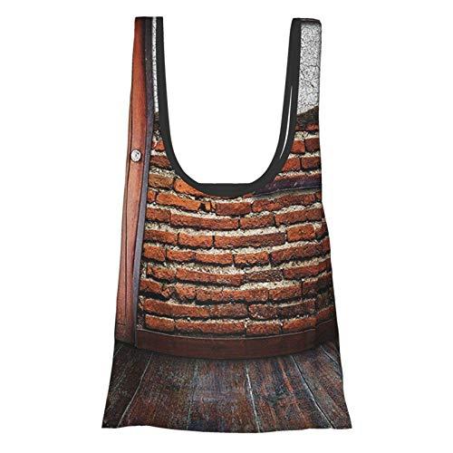 GIERTER - Marco de fotos de decoración antigua, para pared de ladrillo dañado en el suelo de madera rústica, reutilizables, bolsas de compras ecológicas