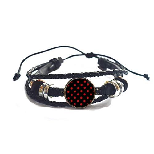 Rojo lunares brazalete minimalista joyería botón pulsera brazalete ropa regalo de Navidad regalo para su calcetín Stuffer-#119