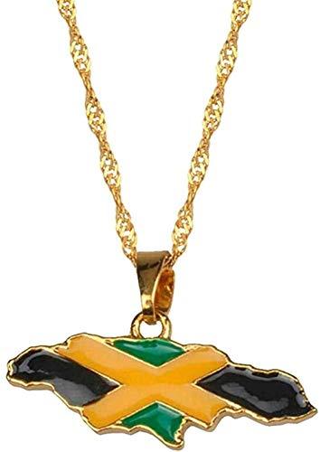 LDKAIMLLN Co.,ltd Collar Mapa de Moda de Jamaica y Bandera Nacional Collares Pendientes Joyas Color Dorado Regalos jamaicanos 60cm Collar Colgante Regalo para Hombres Mujeres Niñas Niños