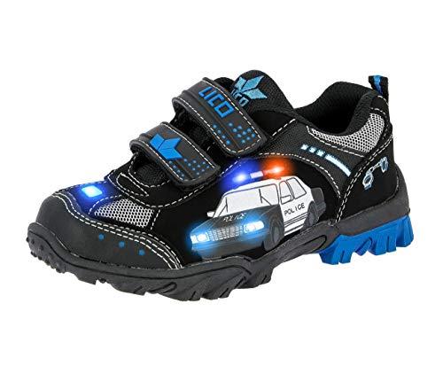 Lico Chief V Blinky Unisex Kinder Sneaker, Schwarz/ Royalblau/ Silber, 23 EU