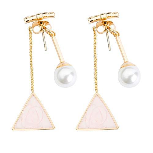Wedsd Pendientes de aleación Pendientes largos para mujer 1 par de diamantes, perlas, triángulos, pendientes, regalo de joyería de la novia de la madre