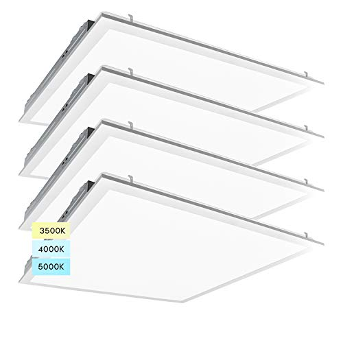 Luxrite 2x2 FT LED Light Panel, 36/40/45W, Color Temperature Selectable 3500K | 4000K | 5000K, Dimmable Drop Ceiling Lights, 4500/5000/5625 Lumens, IC Rated, UL Listed, 120-277V, DLC Premium (4 Pack)