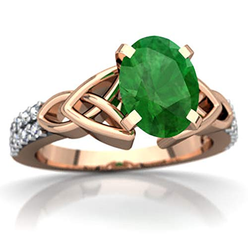 Celtic Knot Valentine Day Engagement Ring 0.99 CTW Oval Cut Emerald & White CZ Diamonds 14K Rose Gold Fn (10.5)