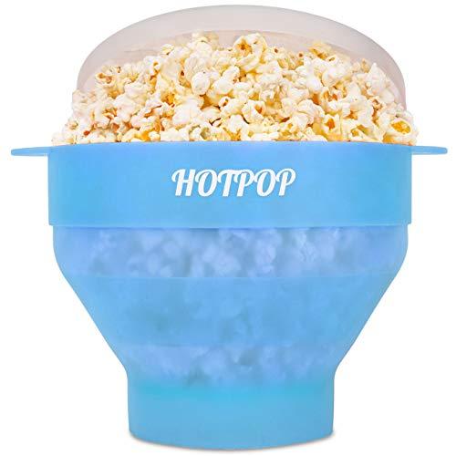 Hotpop Popcorn-Maker für die Mikrowelle, 17 Farben zur Auswahl, Silikon, zusammenklappbar, BPA-frei und spülmaschinenfest, in 17 Farben erhältlich (transparente frische Minze)