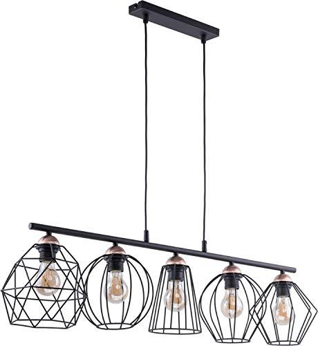 Design Pendelleuchte Schwarz Kupfer Metall 5-flammig länglich stylisch GALAXY Esstisch Wohnzimmer Hängelampe