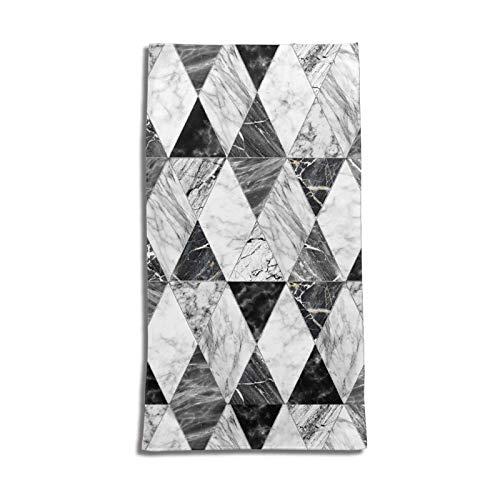 N\B Toalla de mano con textura de mármol blanco y negro para baño, súper suave, absorbente, toalla multiusos para baño, gimnasio y spa 27.5 x 15.7 pulgadas