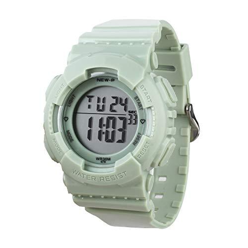 Sport Digital Armbanduhr mit 7-Farben-Hintergrundbeleuchtung Alarm und Stoppuhr, Harzarmband (Grün)