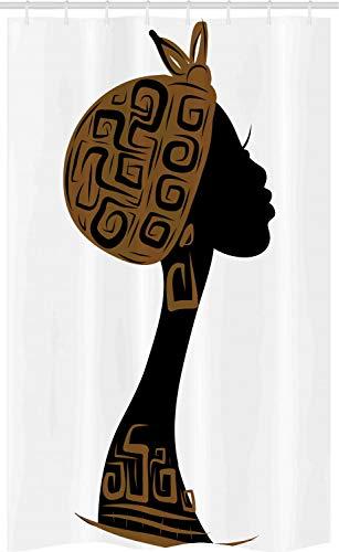 ABAKUHAUS Afrikaanse Douchegordijn, hoofddoek Profiel, voor Douchecabine Stoffen Badkamer Decoratie Set met Ophangringen, 120 x 180 cm, Bruin Zwart Wit