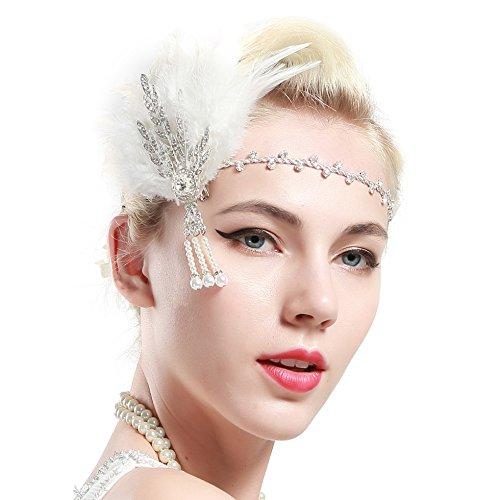 Babeyond Bandeau Plume Année 20 Gatsby Couronne Plume Accessoires Gatsby Flapper Bandeau des Année 1920 Serre-tête Vintage Classique Partie à Thème (Blanc)