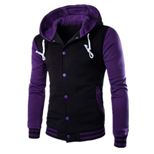 Sweatshirt Herren Jacke Herren Bequemer Casual Tastenart Trend Herren Jacke Herbst Neu Bequemer All-Match Mixed Fiber Loose Draussen Sportstil Herren Kapuzenjacke Purple XL