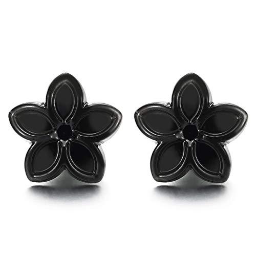 Negro Magnética Estrella Flor Pendientesde Mujer, Click-on Fake Piercing, Enchufe falso Plug, Pulido