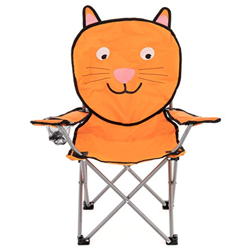 Nexos Kinder Campingstuhl Kinderstuhl Klappstuhl Gartenstuhl Strandstuhl Faltstuhl Sonnenstuhl mit Sicherung Getränkehalter Tragetasche lustiges Tiermotiv wählbar (Katze)